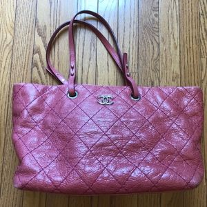 Authentic Chanel Rose quilted leather Tote